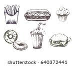fast food  sketch. food  hand... | Shutterstock .eps vector #640372441