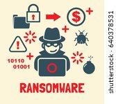 ransomeware attack  hacker and... | Shutterstock .eps vector #640378531