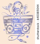 hand drawn boom box and... | Shutterstock .eps vector #640385044