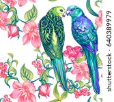two colored parrots and flowers.... | Shutterstock .eps vector #640389979