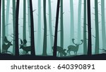 forest vector landscape with...   Shutterstock .eps vector #640390891