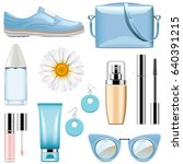 vector fashion accessories set 3 | Shutterstock .eps vector #640391215