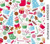 colorful assorted christmas... | Shutterstock .eps vector #640400305