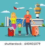 young family with children in... | Shutterstock . vector #640401079