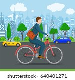 city style businessman with bag ... | Shutterstock . vector #640401271