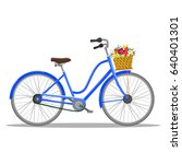 bicycle with basket of flowers. ... | Shutterstock . vector #640401301