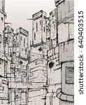 cyberpunk city. fantastic... | Shutterstock .eps vector #640403515