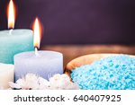 spa candle and salt. cosmetic... | Shutterstock . vector #640407925