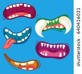 cartoon cute monster mouths set ... | Shutterstock .eps vector #640416031