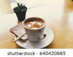 hot coffee  latte make heart... | Shutterstock . vector #640420885