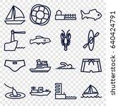 sea icons set. set of 16 sea... | Shutterstock .eps vector #640424791