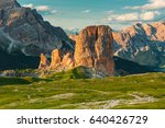 sunset in dolomite mountains... | Shutterstock . vector #640426729