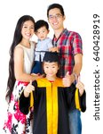 asian girl in graduation gown... | Shutterstock . vector #640428919