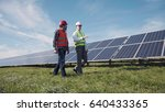 two male electrician workers in ... | Shutterstock . vector #640433365