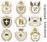 collection of vector heraldic... | Shutterstock .eps vector #640433911