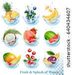 big collection of fruit in a... | Shutterstock .eps vector #640434607