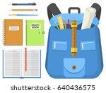 school bag backpack full of...   Shutterstock .eps vector #640436575