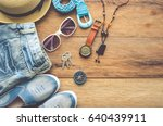 travel clothing accessories... | Shutterstock . vector #640439911