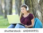 single teen girl studying... | Shutterstock . vector #640444951