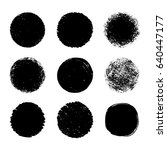 hand drawn black round abstract ... | Shutterstock .eps vector #640447177