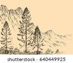 alpine landscape vector drawing | Shutterstock .eps vector #640449925