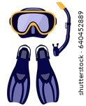 scuba mask and snorkel  diving... | Shutterstock .eps vector #640452889