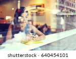 cafe city lifestyle woman on... | Shutterstock . vector #640454101