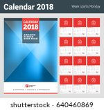 wall calendar planner for 2018... | Shutterstock .eps vector #640460869