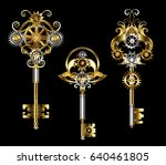 three keys with gears of gold ... | Shutterstock .eps vector #640461805