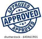 approved blue round grunge stamp   Shutterstock .eps vector #640461901