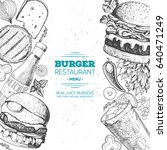 burgers and ingredients for... | Shutterstock .eps vector #640471249