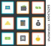 flat finance sack  cash stack ... | Shutterstock .eps vector #640476295