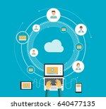 flat vector business video... | Shutterstock .eps vector #640477135