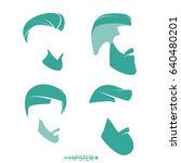 set of hipster man haircuts ... | Shutterstock .eps vector #640480201
