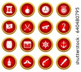 pirate icon red circle set... | Shutterstock .eps vector #640480795