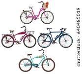 vector set of city bicycles.... | Shutterstock .eps vector #640485019