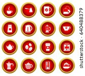 tea icon red circle set... | Shutterstock .eps vector #640488379