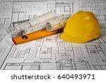 yellow helmet  level and... | Shutterstock . vector #640493971