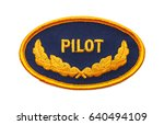 oval blue and gold pilot patch... | Shutterstock . vector #640494109