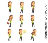 set of cute businesswoman... | Shutterstock .eps vector #640497277