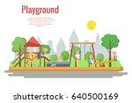 children's playground vector... | Shutterstock .eps vector #640500169