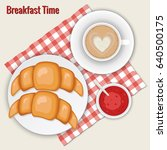 coffee cappuccino  croissants...   Shutterstock .eps vector #640500175