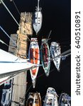 Small photo of View from a mast top on the yachting marina during a regatta. Russia. Onega Lake&