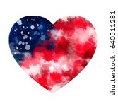 Love Usa. Watercolor Heart Wit...