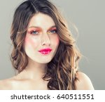 colorful make up woman face ... | Shutterstock . vector #640511551