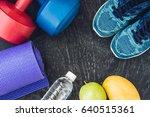 yoga mat  sport shoes ... | Shutterstock . vector #640515361