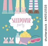 sleepover invitation card with... | Shutterstock .eps vector #640515535