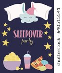 sleepover invitation card with... | Shutterstock .eps vector #640515541
