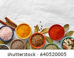 spices in colorful bowls viewed ... | Shutterstock . vector #640520005