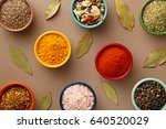 spices in colorful bowls viewed ... | Shutterstock . vector #640520029
